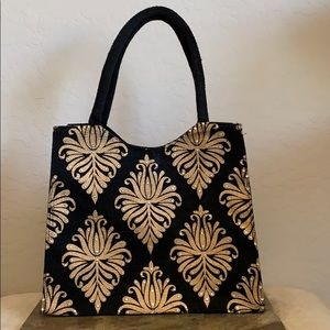 NWT Black & Gold Bling Tote With Clear Crystals